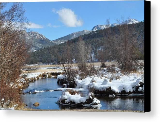 Snow Canvas Print featuring the photograph Estes by Teresa Howell