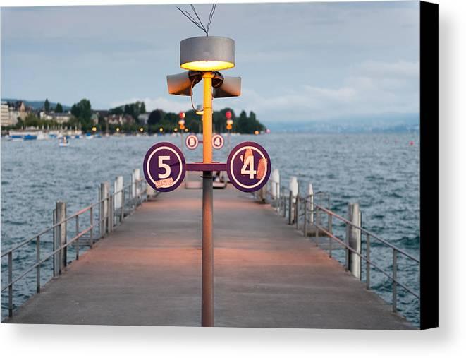 Evening 54 Sunset Zurich Lake Switzerland Dock Bay Canvas Print featuring the photograph Evening 54 by Pedro Nunez