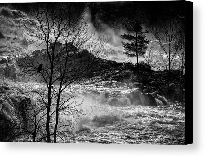 Night Canvas Print featuring the photograph Evening Great Falls Maine by Bob Orsillo