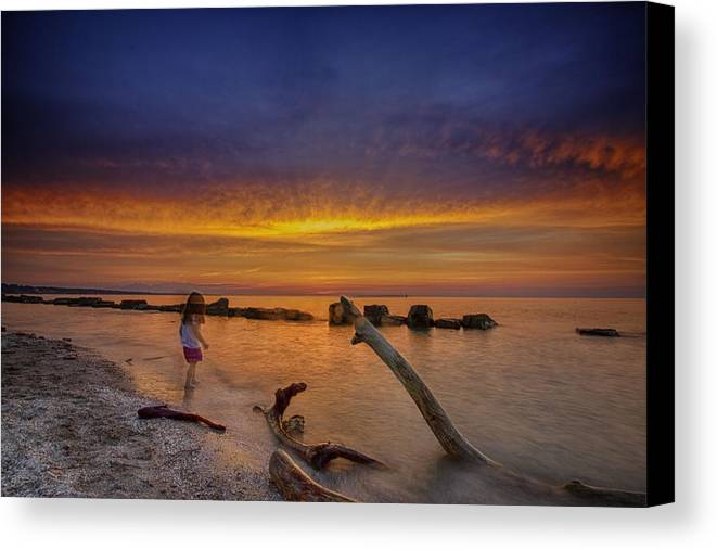 Sunset Canvas Print featuring the photograph Fading Away by Oltjon Mema