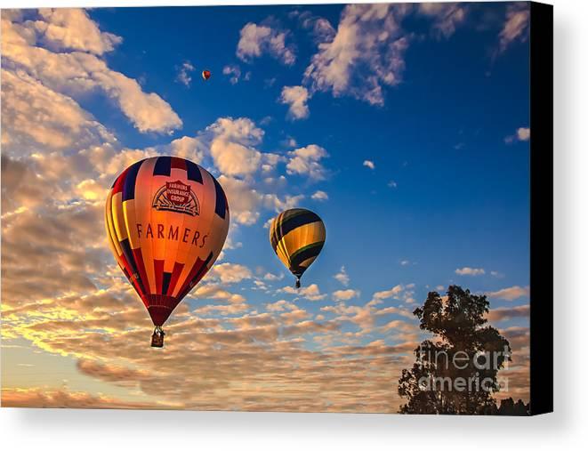 Arizonia Canvas Print featuring the photograph Farmer's Insurance Hot Air Ballon by Robert Bales