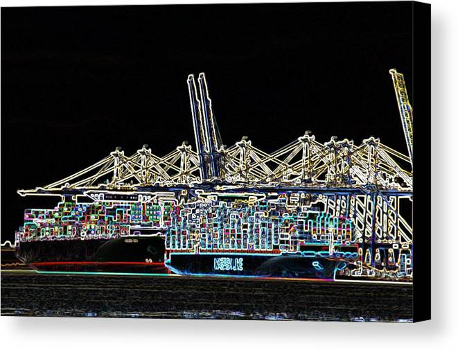 Crane Canvas Print featuring the photograph Felixstowe Glow 004 by Alan Waters