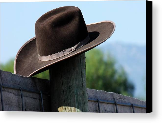 Felt Hat Canvas Print featuring the photograph Felt Hat On Fence Post by Kae Cheatham