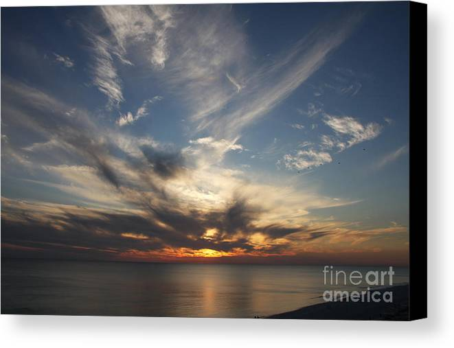 Sunset Canvas Print featuring the photograph Fiery Sunset Skys by Christiane Schulze Art And Photography