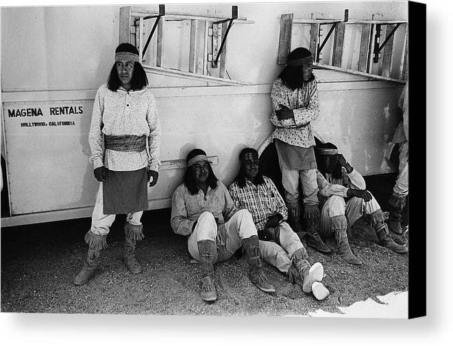 Film Homage Apache Extras The High Chaparral 1969 Old Tucson Arizona 1969-2008 Black And White Canvas Print featuring the photograph Film Homage Apache Extras The High Chaparral 1969 Old Tucson Arizona 1969-2008 by David Lee Guss