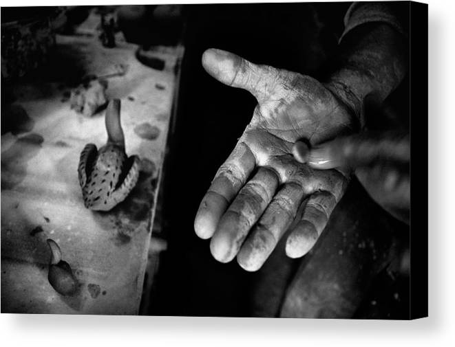 Street Photography Canvas Print featuring the photograph Finishing Touches by Ilker Goksen