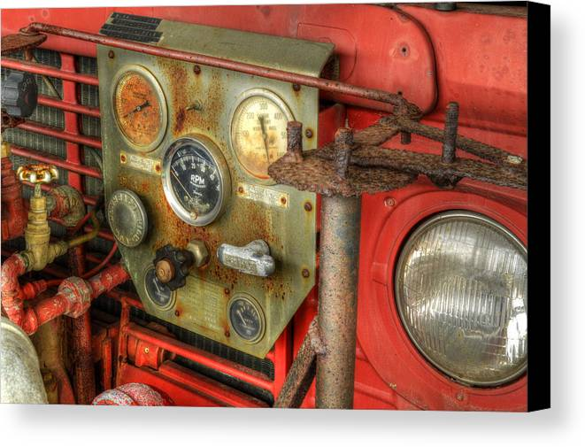 Old Canvas Print featuring the photograph Fire Department Tanker Controls by Geoffrey Coelho