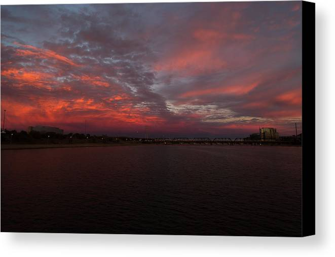 Tempe Canvas Print featuring the photograph Fire Sky by Steve Wile