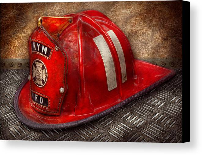 Fireman Canvas Print featuring the photograph Fireman - Hat - A Childhood Dream by Mike Savad