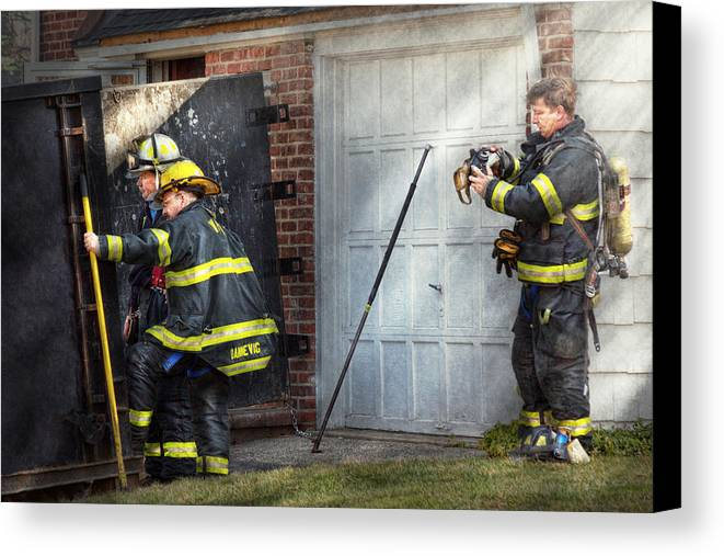 Savad Canvas Print featuring the photograph Fireman - Take All Fires Seriously by Mike Savad