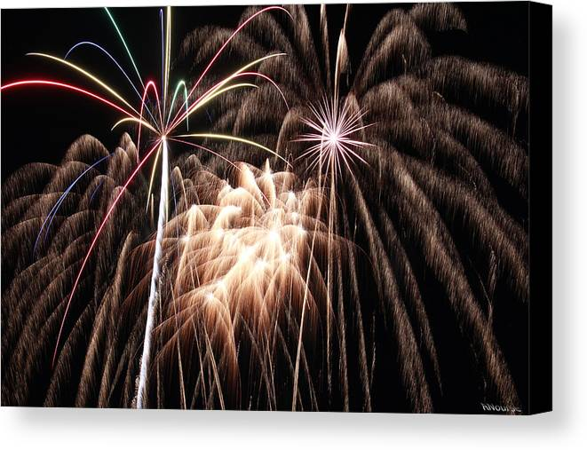 Fireworks Canvas Print featuring the photograph Fireworks 3 by Andrew Nourse
