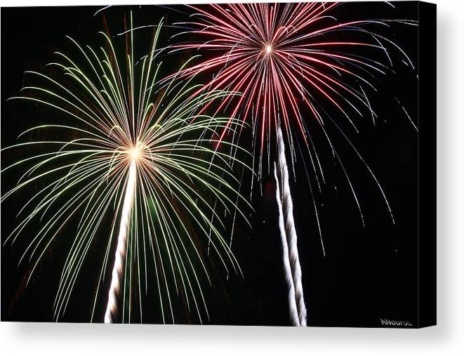 Fireworks Canvas Print featuring the photograph Fireworks 5 by Andrew Nourse