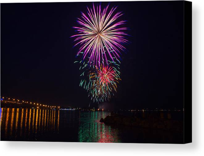 4th Canvas Print featuring the photograph Fireworks Over The York River by James Drake