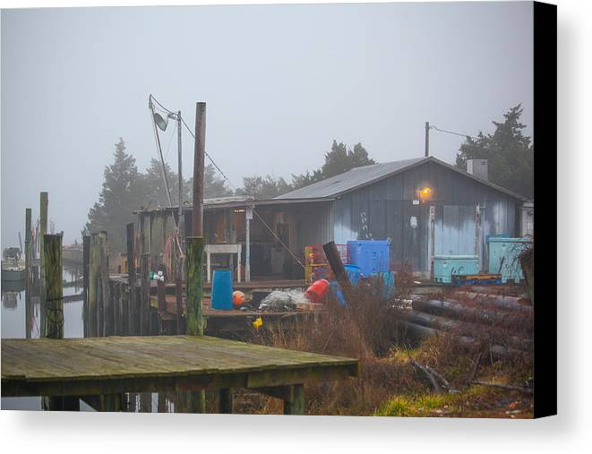Fish Canvas Print featuring the photograph Fish House In Fog by Paula OMalley