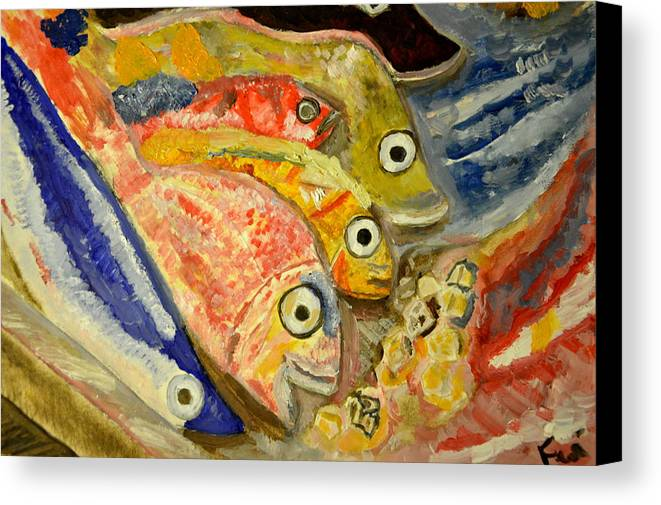 From This A Statue In The Egyptian Museum Of Florence Canvas Print featuring the painting Fishes by Daniele Fedi