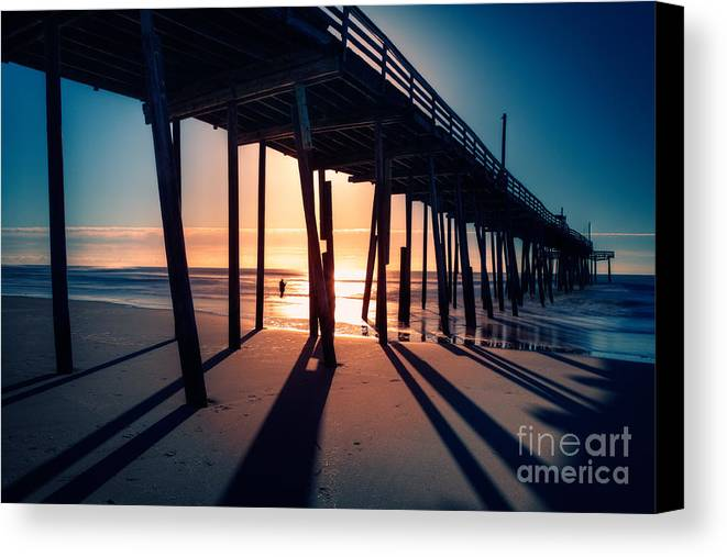 Outer Banks Canvas Print featuring the photograph Fishing At Frisco Outer Banks by Dan Carmichael