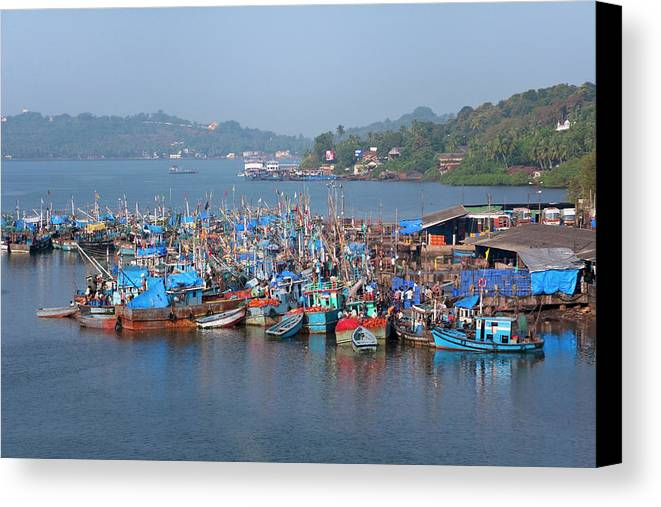Asia Canvas Print featuring the photograph Fishing Boats In The Indian Ocean, Goa by Keren Su