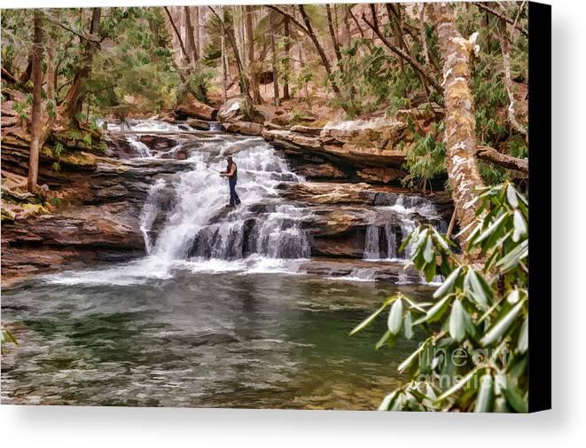 Mill Creek Falls Canvas Print featuring the photograph Fishing Mill Creek Falls In West Virginia by Dan Friend