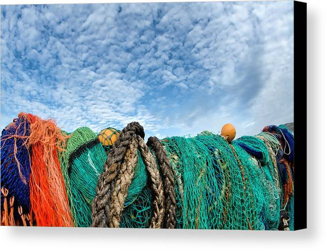 Alto-cumulus Canvas Print featuring the photograph Fishing Nets And Alto-cumulus Clouds by Susie Peek