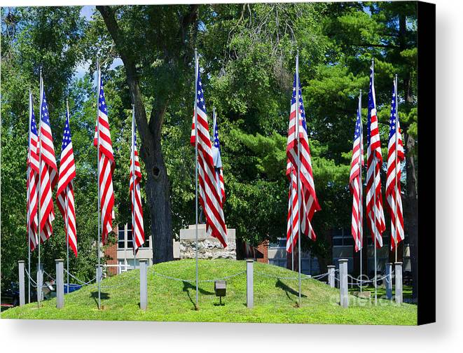 American Flag Canvas Print featuring the photograph Flag - Illinois Veterans Home - Luther Fine Art by Luther Fine Art