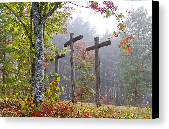 Appalachia Canvas Print featuring the photograph Flax Creek In The Fog by Debra and Dave Vanderlaan