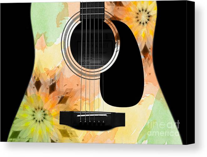 Abstract Canvas Print featuring the digital art Floral Abstract Guitar 14 by Andee Design