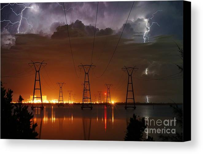 Lightning Canvas Print featuring the photograph Florida Power And Lightning by Lynda Dawson-Youngclaus