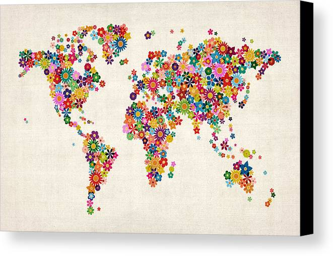 World Map Canvas Print featuring the digital art Flowers Map Of The World Map by Michael Tompsett