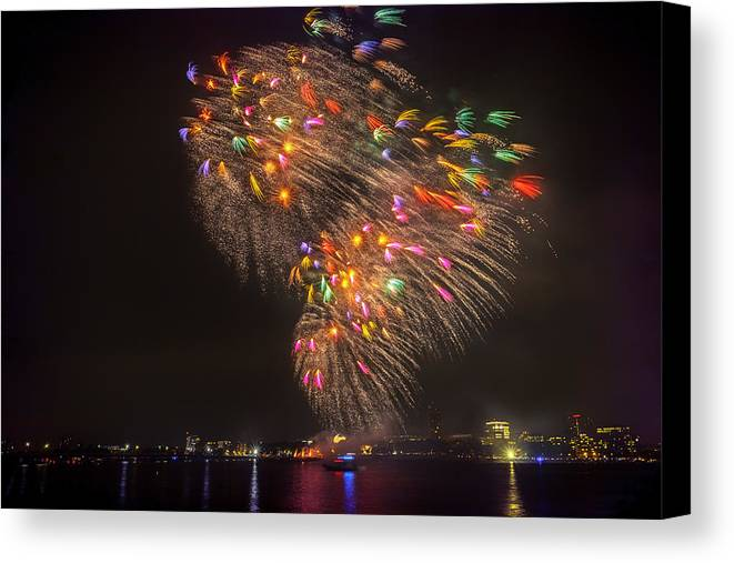 Boston Canvas Print featuring the photograph Flying Feathers Of Boston Fireworks by Sylvia J Zarco