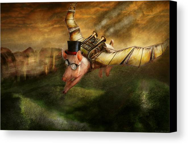 Pig Canvas Print featuring the photograph Flying Pig - Steampunk - The Flying Swine by Mike Savad