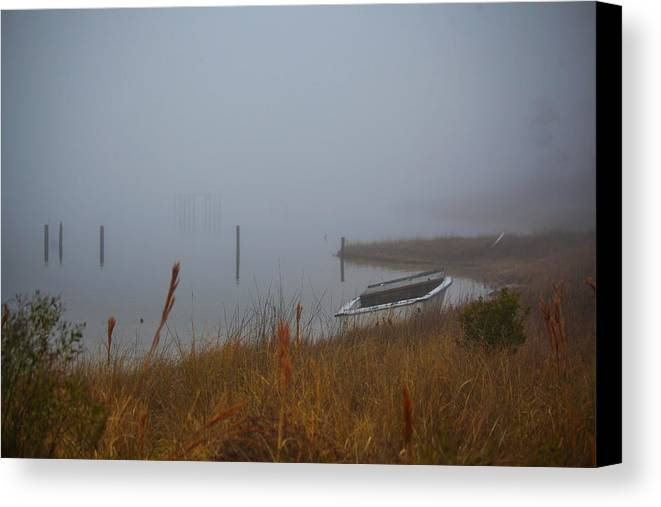 Cedar Island Canvas Print featuring the photograph Fog On The Shore by Paula OMalley