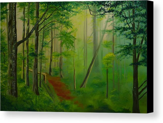 Forest Canvas Print featuring the painting Foggy Forest Path by Nick Froyd