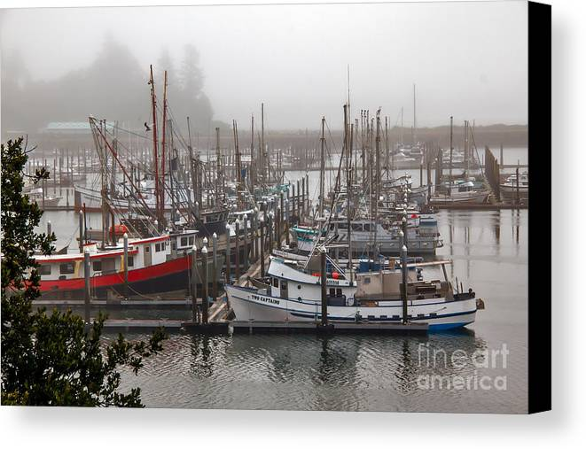 Ilwaco Canvas Print featuring the photograph Foggy Ilwaco Port by Robert Bales