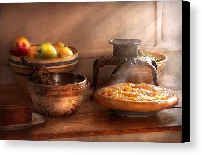 Peach Canvas Print featuring the photograph Food - Pie - Mama's Peach Pie by Mike Savad