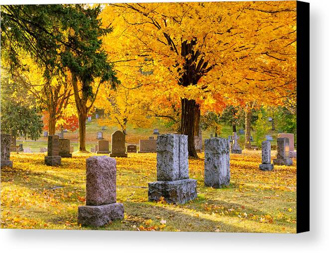forest Hill forest Hill Cemetery woodland Autumn Cemetery Graveyard Trees Leaves Duluth Serenity Peace Tombstones Wind winds Of Change blowing Leaves nature fall Color mary Amerman Canvas Print featuring the photograph Autumn At Forest Hill by Mary Amerman