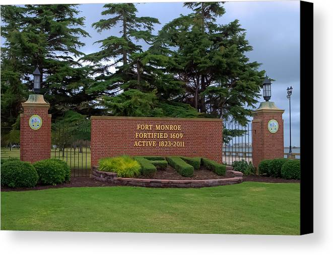 Fort Monroe Canvas Print featuring the photograph Fort Monroe Main Gate by Jerry Gammon