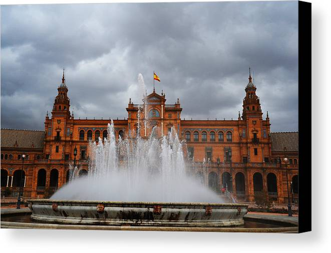 Seville Canvas Print featuring the photograph Fountain On Plaza De Espana. Seville by Jenny Rainbow