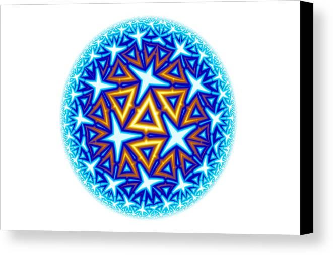 Mandala Canvas Print featuring the digital art Fractal Escheresque Winter Mandala 10 by Hakon Soreide