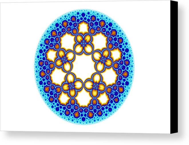 Escheresque Canvas Print featuring the digital art Fractal Escher Winter Mandala 3 by Hakon Soreide