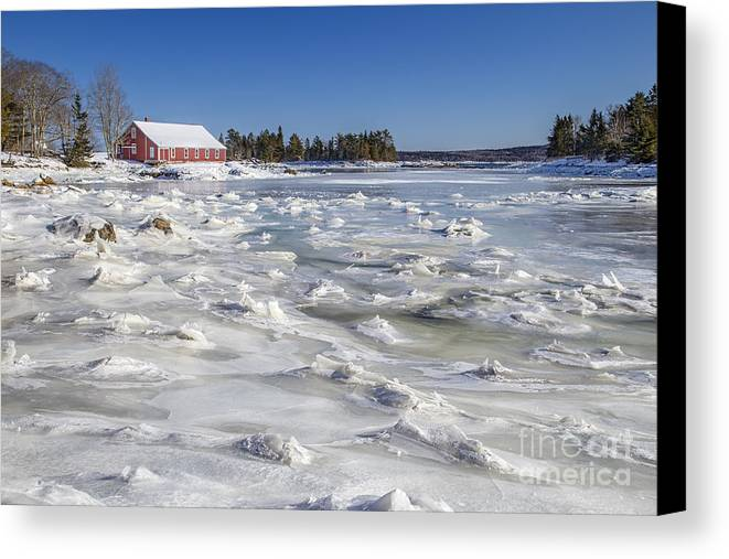 Maine Canvas Print featuring the photograph Frozen by Evelina Kremsdorf