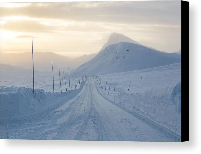 Norway Canvas Print featuring the photograph Frozen Mountain Road by Joe Wigdahl