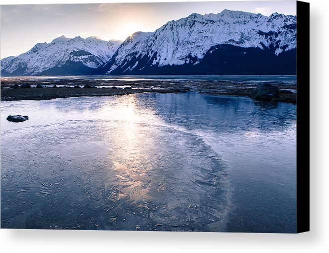 Alaska Canvas Print featuring the photograph Frozen Sunset by Michele Cornelius