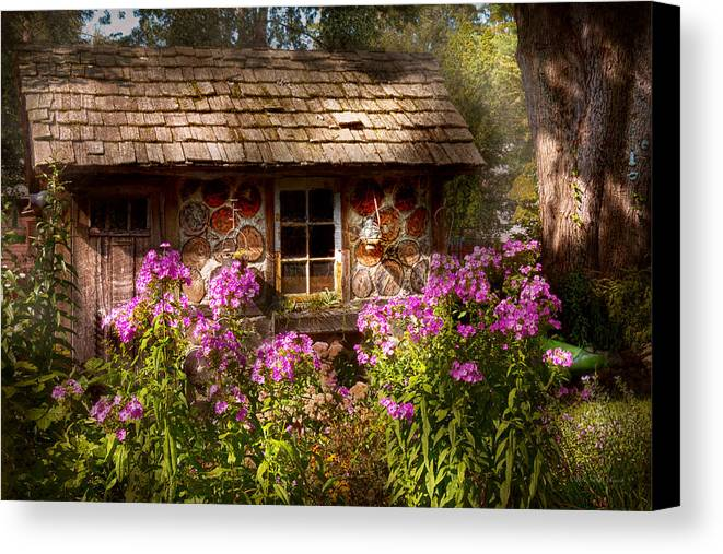 Building Canvas Print featuring the photograph Garden - Belvidere Nj - My Little Cottage by Mike Savad