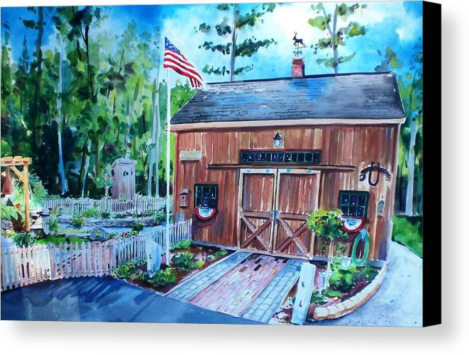 Shed Canvas Print featuring the painting Gardening Shed by Scott Nelson