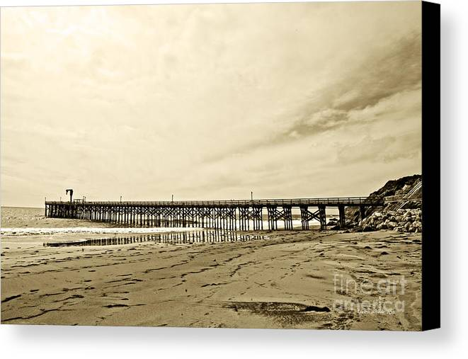 Gaviota Canvas Print featuring the photograph Gaviota Pier In Morning Sepia Tone by Artist and Photographer Laura Wrede