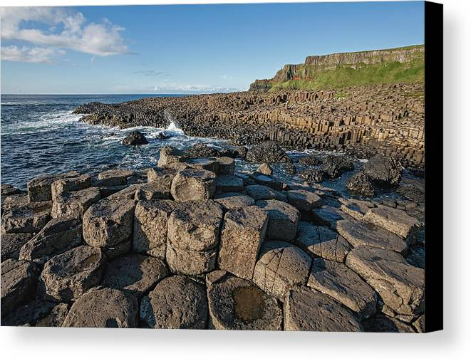Blue Sky Canvas Print featuring the photograph Giant S Causeway, Antrim Coast by Carl Bruemmer