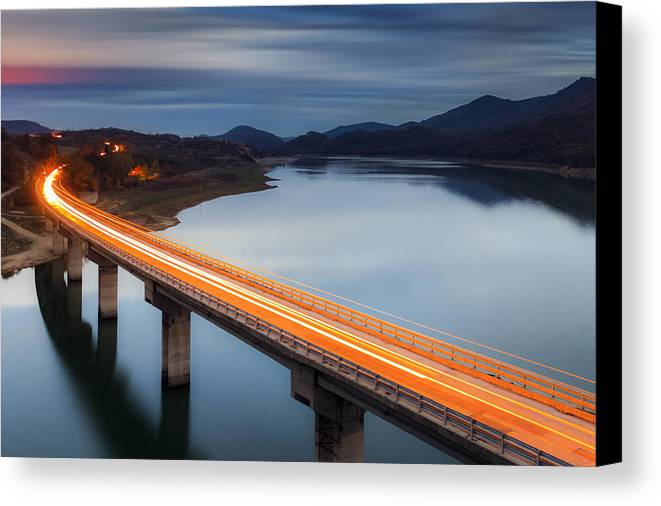Bulgaria Canvas Print featuring the photograph Glowing Bridge by Evgeni Dinev