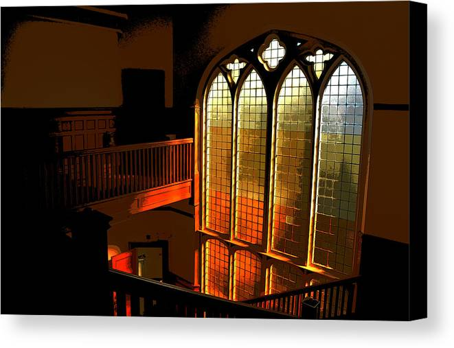 Window Canvas Print featuring the photograph Glowing Stairs by Rhys Arithson