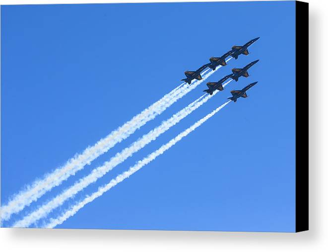 Blue Angels Canvas Print featuring the photograph Go Navy by Henry Inhofer