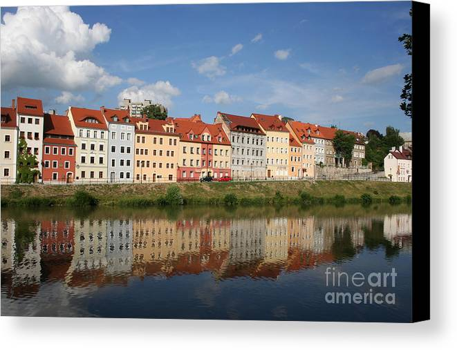 Row Of Houses Canvas Print featuring the photograph Goerlitz Germany by Christiane Schulze Art And Photography